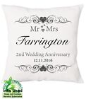 "Cotton 2nd Wedding Personalised Anniversary Cushion Canvas Gift Mr Mrs 18""x18"""