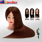 """24"""" Real Hair Practice Hairdressing Training Head Mannequin + Clamp"""