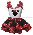 Minnie White Cotton Top Red Polka Dots Black Satin Trim Girls Skirt Outfit NB-8Y