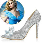 Womens Cinderella Wedding Party Giltter Rhinestone Pumps Crystal Shoes Pointy