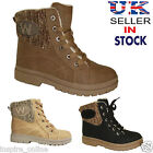 LADIES WOMENS FAUX FUR GRIP SOLE BOOTS WINTER WARM ANKLE SHOES TRAINERS SIZE 3-8