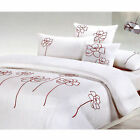 3 Pce Spring Floral Embroidery White Quilt Doona Duvet Cover Set - QUEEN KING