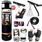 NEW 3-4-5 FT Filled Heavy Punch Bag Buyer Build Set,Chains,Bracket,Boxing Bag <br/> BOXING PUNCH KIT SET BOXED PACK KICK BOXING MMA BAG