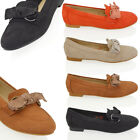 NEW WOMENS SLIP ON BOW LOAFERS LADIES CASUAL FLAT FAUX SUEDE PUMPS SHOES