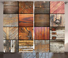 Rustic Decor Pattern with Wood Material Surfaces Art Print Curtain 2 Panels Set