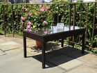 Patio Outdoor Wicker Garden Rectangular Coffee Table w/ Glass