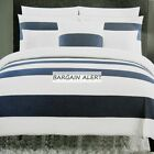 HOTEL COLLECTION 3PC FULL QUEEN KING DUVET COVER ~ BLUE WHITE STRIPED ~ DENIM