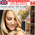 """Grade 7A Straight 16''-22"""" 1g/s Nano Ring Tip 100% Remy Human Hair Extensions UK"""