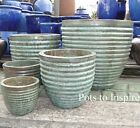 Extra Large Pots and Large Opal Green Glazed Ribbed Planters Garden Pot