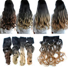 Lot 26'' Long Dyed Cosplay Ombre Hair Curly Full Head Clip In Hair Extensions