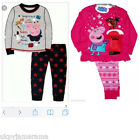 Girls Boys Long Pyjamas Peppa George Pig Christmas Snuggle Pyjamas Xmas New 1-6