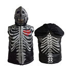 Ladies Puffer Real Leather Vest Skeleton Embroidery Quilted Hooded Genuine New
