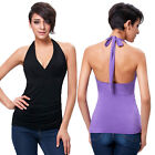 New Women's Casual Halter Backless Tops Summer Sleeveless Pleated Blouse T-Shirt