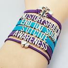 Multi Layer Suicide Awareness Bracelet Butterfly Double Heart Charm Jewelry