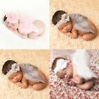 Newborn Baby Angel Wing+Flower Headband Costume Photo Photography Prop Outfit