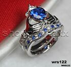 Blue Sapphire & White Heart Shape Claddagh 925 Silver Engagement Bridal Ring Set