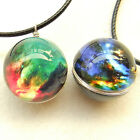 Glass Ball Art Necklace Pendant Galaxy Star Nebula Planet Sparkling Green n2
