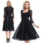 Square Neck Womens Vintage Style Evening Ball Party Gown 3/4 Sleeve Lace Dress