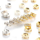 Silver/Gold Iron Metal Crystal Rhinestone Spacers Loose Beads Crafting 6mm 8mm