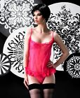 Cerise Pink Lace Ruffle Trim Mesh Babydoll Chemise Sexy Lingerie P80297