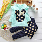 Kids Baby Girls Outfit Minnie Mouse Tops Polka Dot Dress Pants 2PCS Set Clothes