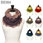 NEW VINTAGE NATURAL SOFT WOMEN TWO TONE LAYERED  INFINITY SCARF / SS364