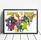 Pokemon PERSONALISED Poster Print Children's Bedroom Sign Battle NAME TAG A4 UK