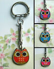 WISE OWL CHARM KEYRING PINK BLUE RED GINGHAM CUTE KITSCH