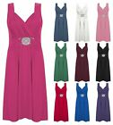 Women Ladies Mini Buckle Dress Cross Wrap Over Stretchy Evening Tie Back Dresses