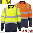 HI VIS VIZ HIGH VISIBILTY POLO SHIRTS REFLECTIVE TAPE WORK WEAR TWO TONE TOP