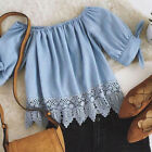 NEW Women Stitchting Lace Blouse Casual Blue Short Sleeve Solid Chiffon Shirt