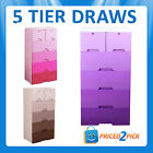 5 TIER Plastic Storage Drawers Draws Tubs Boxes on Wheels Toy Kids Storage