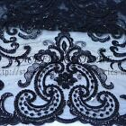 Off white/black Heavy beaded wedding dress lace fabric 51'' width by yard