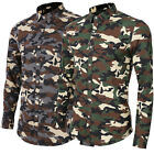 Fashion Men's Slim Fit Camouflage Printed Long Sleeve Luxury Casual Dress Shirt