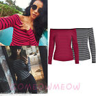 Off-Shoulder Long Sleeve Red Black Classic Striped T-shirt Top Casual Blouse