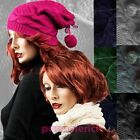 Hat knitted baseball cap neck warmer band scarf POM POM woman new W-186