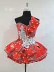 Red Ruffle Flare Short Dress Skirt Embellish Costume Women's Custom Size