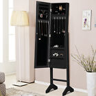 Mirrored Jewelry Cabinet Armoire Mirror Organizer Storage Box w/ Stand