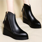 Women Black Wedge Zip Ankle Boots Leather Platform Hidden Heel Shoes Size UK 3-5