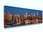 New York City Night Skyline Panoramic Picture Canvas Print Home Decor Wall Art