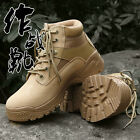 Mens Military Tactical Combat Leather Outdoor Camping Climbing Ankle Boots Shoes
