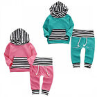 Striped Toddler Kids Baby Boy Girl Hooded Tops +Pants Outfits 2PCS Clothes Set