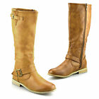 Ladies Womens Knee High Flat Heel  Zip Up Winter Riding Biker Boots Shoes Size