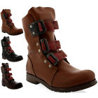 Womens Fly London Stif Leather Pull On Military Biker Buckle Ankle Boots US 5-10