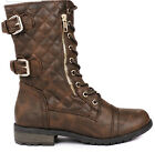 Forever Women's Mango-79 Military Leatherette Dual Buckle Zipper Lace Up Boots