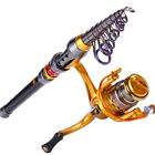 Fishing Rod with Reel Set Spinning Telescopic Fishing Combos Tackle Pole Kits