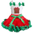 Baby Red Green Pettiskirt Tutu Xmas Gift White Tank Top Dress Outfit