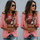 Women Autumn Long Sleeve Loose Red White Striped Tee T-shirt Casual Blouse Tops