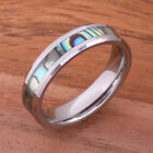 Tungsten Carbide Abalone Shell Wedding Ring Beveled Edge 6mm TUR1017 image