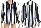 Women Ladies Crepe Stripe Monochrome Shirt Blouse Semi Sheer Oversized Chiffon